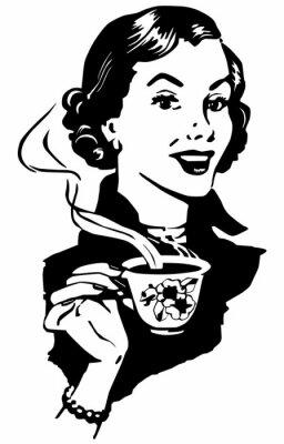 Affisch kaffe Lady