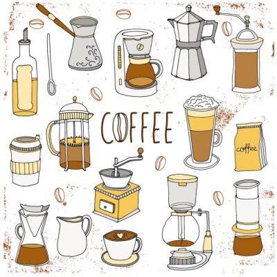 Affisch Kaffe set. Handritad samling