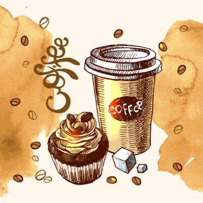 Affisch kaffe skiss illustration