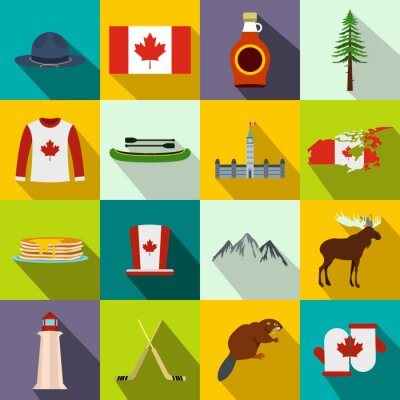 Affisch Kanada ikoner platt