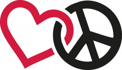 Affisch Kärlek och fredtecken sammanflätade
