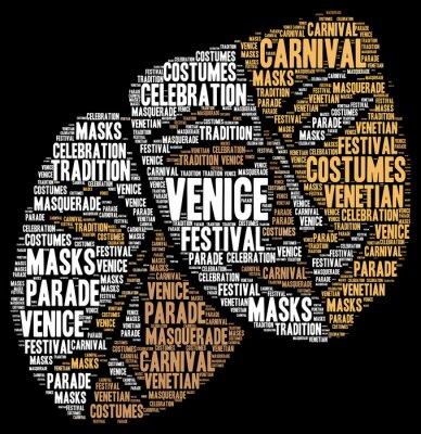Affisch Karnevalen i Venedig i Italien ordet molnet