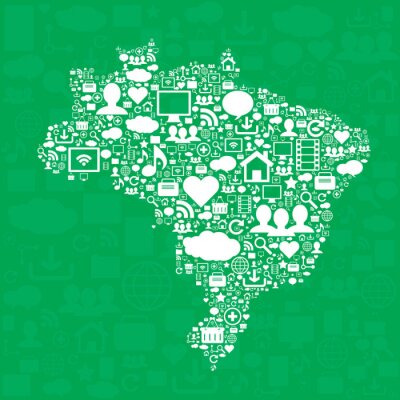 Affisch Karta över Brasilien med ikoner.