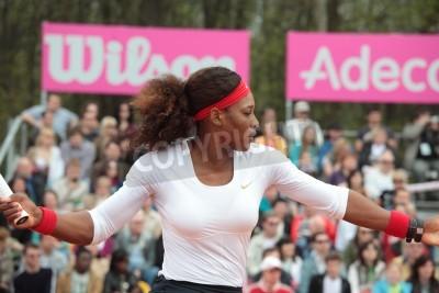 Affisch Kharkov, Ukraina - APRIL 21, 2012 Match mellan Serena Williams och Elina Svitolina under Fed Cup oavgjort mellan USA och Ukraina i Superior Golf Spa Resort, Kharkov, Ukraina April 21, 2012