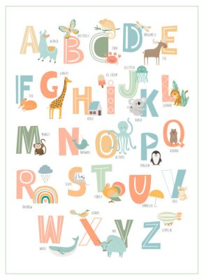 Affisch Kids english alphabet, A to Z with cute cartoon animals. Editable vector illustration