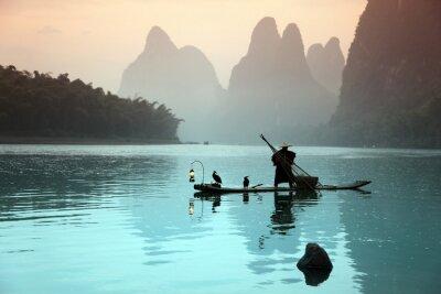 Affisch Kinesisk man fiske med skarvar fåglar