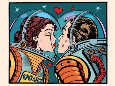 Affisch Kiss utrymme man och kvinna astronauter