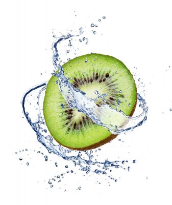 Affisch Kiwi i vattenstänk, isolerad på vit bakgrund