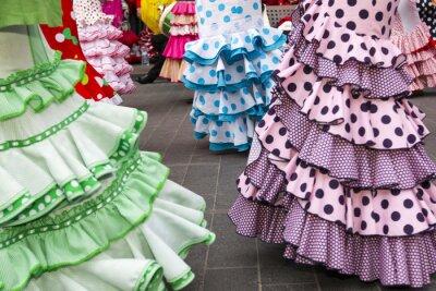 Affisch kjolar av spanska flamencodansare