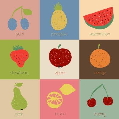 Affisch Klotter frukt ikoner i retro färger