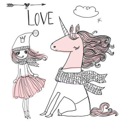 Affisch klotter prinsessa med unicorn