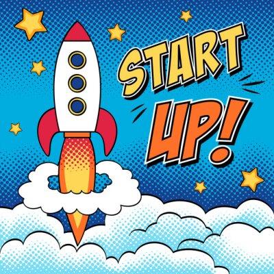Affisch Komiska illustration av start koncept med en raket i popkonst