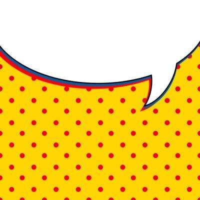 Affisch Komiska samtalet bubblar på gul bakgrund