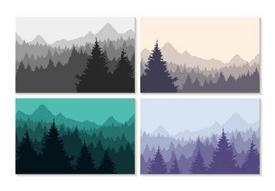 Affisch Koncept illustration vinter skogslandskap set