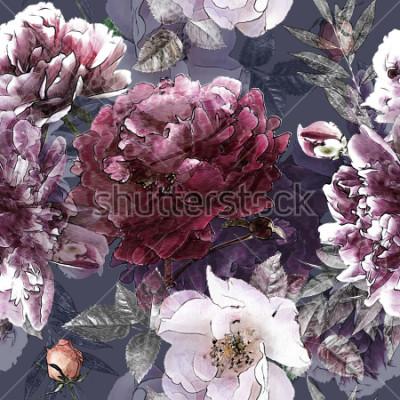 Affisch konst vintage penna blommig färgstarka sömlösa mönster med vita rosor och lila peonies på bakgrunden. Dubbel exponering och Bokeh effekt