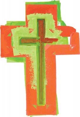 Affisch Konstnärlig abstrakt vattenfärg stil färgrik modern grönt och rött kors