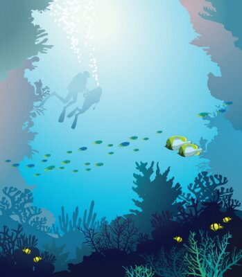 Affisch Korallrev och dykare. Under vattnet.