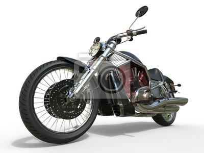 Affisch Kraftfull Vintage motorcykel - röd motor
