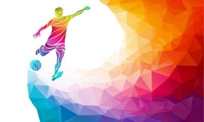 Affisch Kreativa silhuetten av fotbollsspelare. Fotbollsspelare sparkar bollen i trendiga abstrakt färgrik polygon regnbåge tillbaka