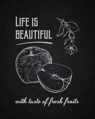 Affisch Krita typografiska bakgrund. Livet är vackert med smak av färska frukter
