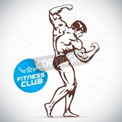 Affisch Kroppsbyggare Fitness Model Illustration