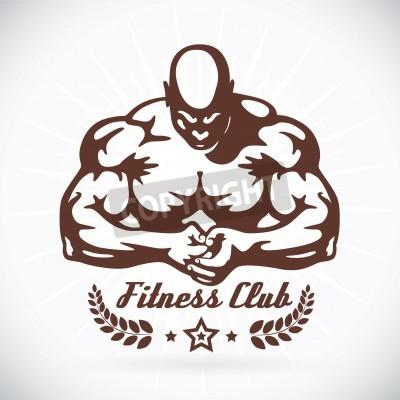 Affisch Kroppsbyggare Fitness Model Illustration, underteckna, symbol, knäppas, emblem, ikon, logo för familj, baby, barn, tonåring, människor, Tatuering