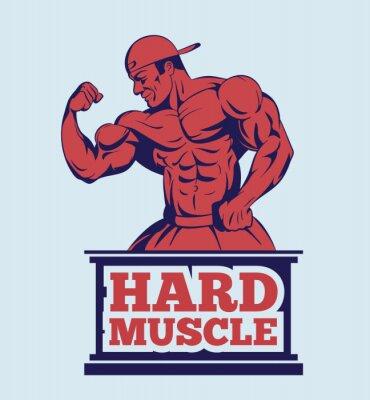 Affisch kroppsbyggare fitness modell poserar logotyp. manmuskel emblem