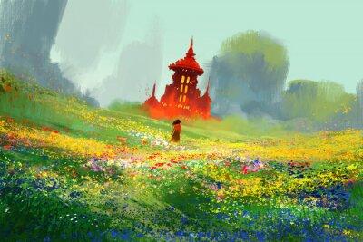 Affisch kvinna i blomma fält bredvid röda slott och berg, illustration målning