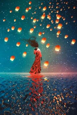 Affisch kvinna i klänning som står på vatten mot lyktor flyter i en natthimlen, illustration målning