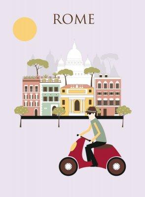 Affisch Kvinna i Rom. Vektor
