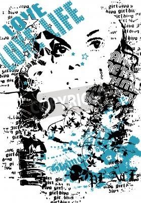 Affisch kvinna med graffiti street style