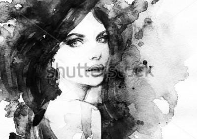 Affisch kvinna porträtt. abstrakt vattenfärg. läge bakgrund