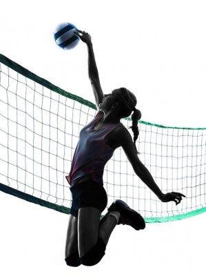 Affisch kvinna volleyboll spelare isolerade silhuett