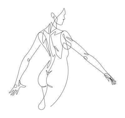 Affisch Kvinnlig figur Kontinuerlig linje vektorgrafik VI