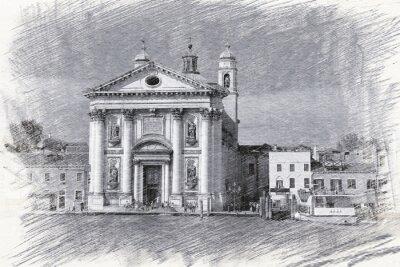 Affisch Kyrkan Santa Maria del Rosario i Italien, Venedig. Skiss