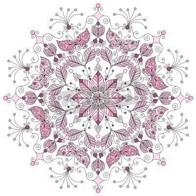 Affisch Lacy pastell runt vintage mönster på vit vektor