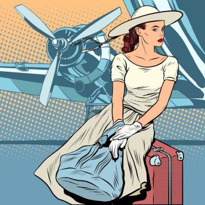 Affisch Lady resenär på flygplatsen