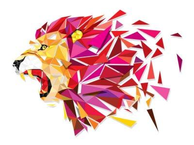 Affisch Låg polygon Llion geometriska mönster explodera - vektor illustratio