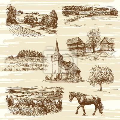 Affisch landskapet och hus - handritad samling