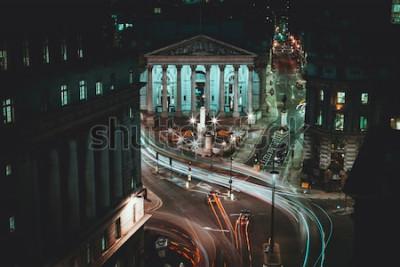 Affisch Lång exponering - Kungliga börsen - London - Ljusvägar - City of London