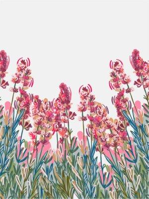 Affisch lavender vecor background pink flower card colorful