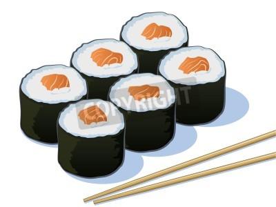 Affisch Lax sushi Rolls med pinnar