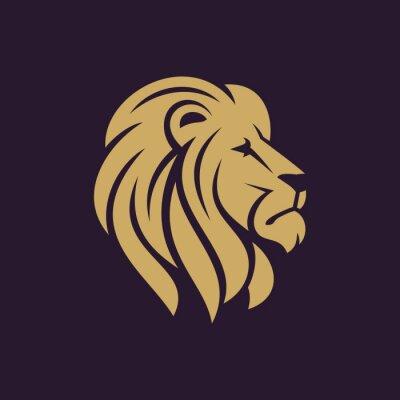 Affisch Lejon huvud logotyp eller ikon i en färg. Lager vektor illustration.