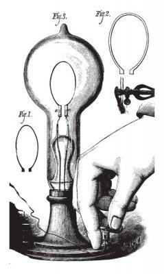 Affisch Lightbulb, vintage illustration
