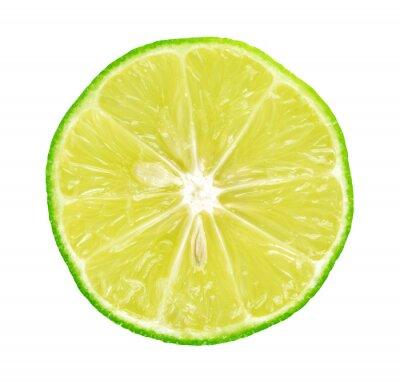 Affisch Lime med skivor på vit bakgrund