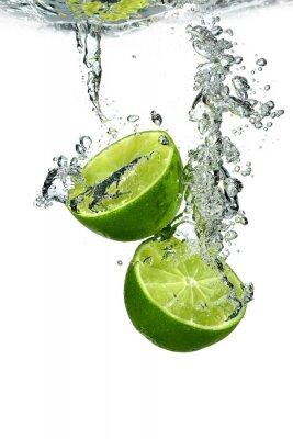Affisch Lime med vatten droppar