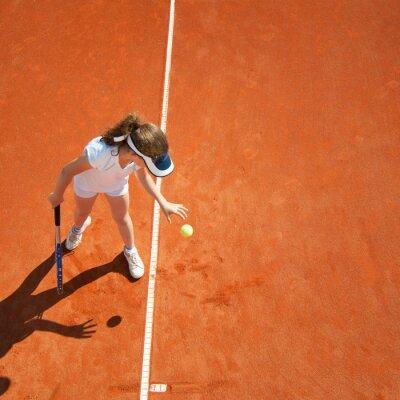 Affisch Lite tennis mästare förbereder sig för att tjäna