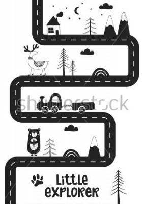 Affisch Little explorer - Cute hand drawn nursery poster with road, wild animals and car. Unique card in black and white scandinavian style. Monochrome vector illustration.