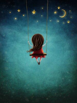Affisch Little fairy girl swingig