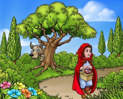 Affisch Little Red Riding Hood Cartoon Scene